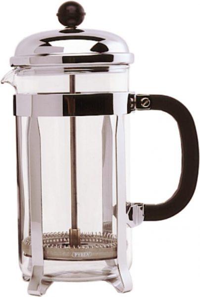 8 Cup Cafetiere - Chrome. Pyrex - 1L / 32oz