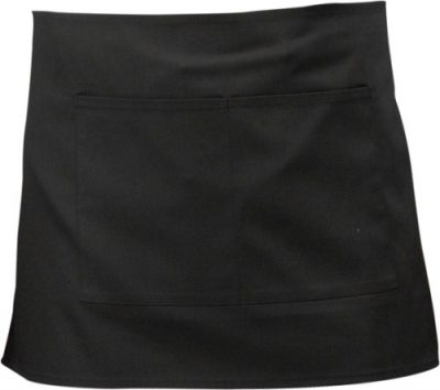 Black short apron with split pocket  70cm x 37cm