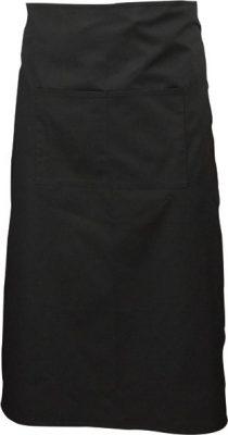 Black long apron with split pocket 90cm long