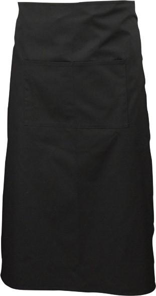 Black waist apron with split pocket 70cm long