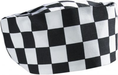 Big black & white check beanie