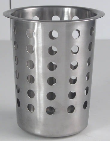 Genware Stainless Steel Perforated Cutlery Cylinder 4.5""