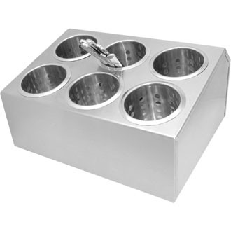 Genware Stainless Steel Holder complete with 6 cutlery cylinder