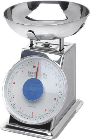 Stainless Steel Analogue Scales - Limit 2kg (Graduated in 10g)