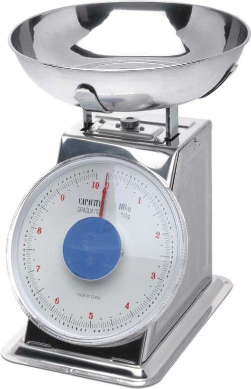 Stainless Steel Analogue Scales - Limit 10kg (Graduated in 50g)