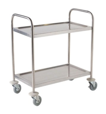 Flat-Packed Stainless Steel Trolley - 2 Tier