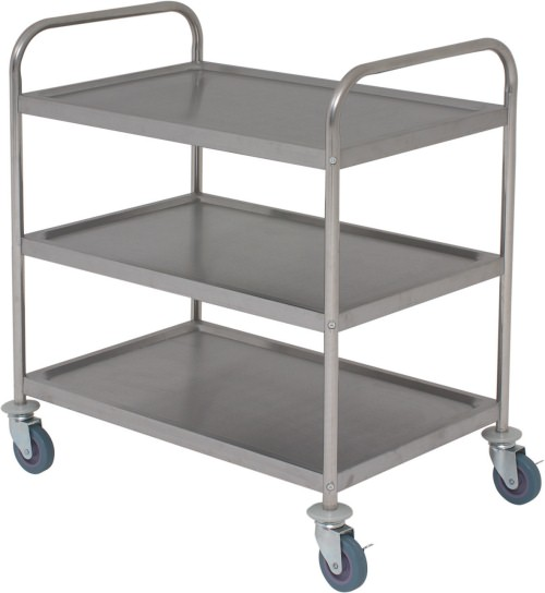 Flat-Packed Stainless Steel Trolley - 3 Tier