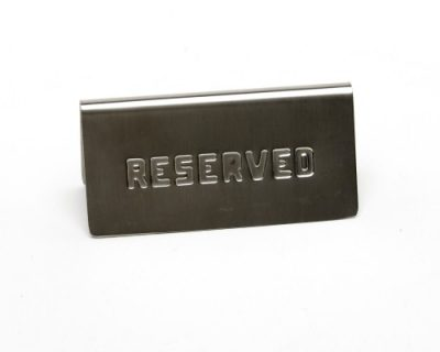 Stainless Steel 'Reserved' Table Sign 12 x 3.6cm