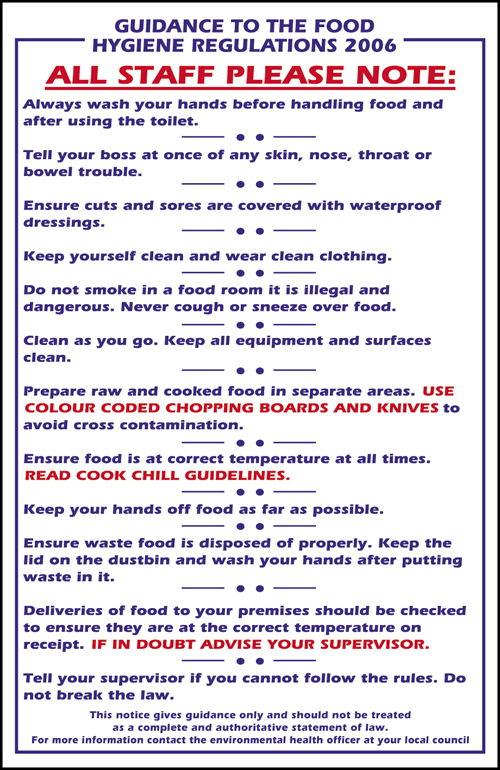 Guidance To The Food Safety Act 2006 Sign