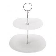 Square 2 Tiered Cake Plate - Platinum Collection