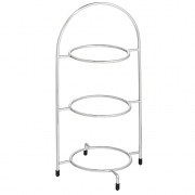 """15.5"""" Chrome 3 Tier Plate Stand (17cm Plates) - Platinum Collection"""